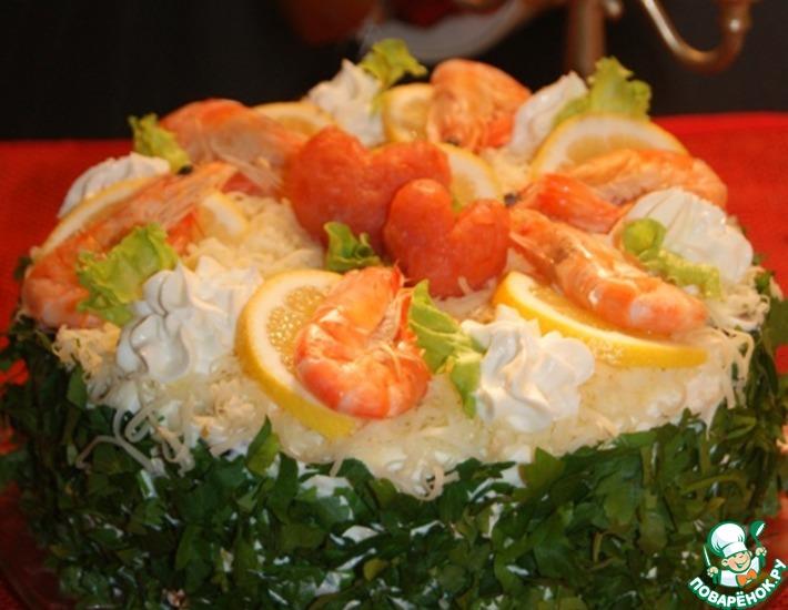 Шикарный торт-салат закусочный — это наслаждение вкусом!
