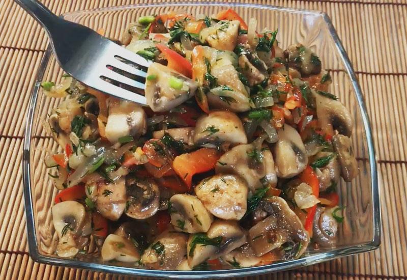 Рецепт изумительно вкусного салата из шампиньонов по-корейски