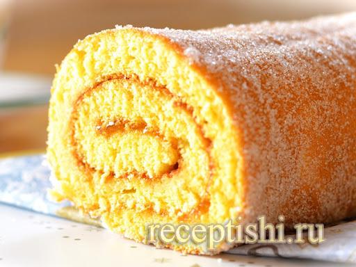 Рецепт нежного и вкусного бисквита для рулетов.
